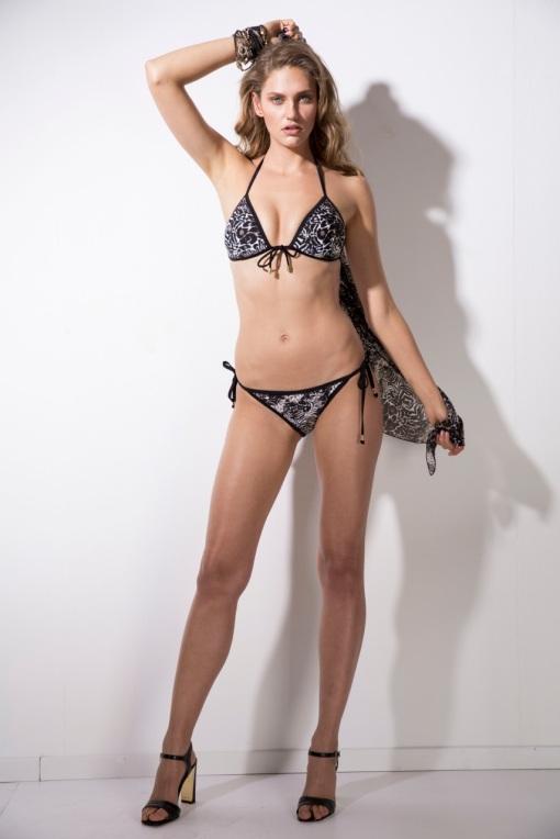 ביקיני משולשים עם פספולים שחורים עיצוב אני פרידמן לקוברה,ביקיני,annie Friedman,cobra,cobra fashion